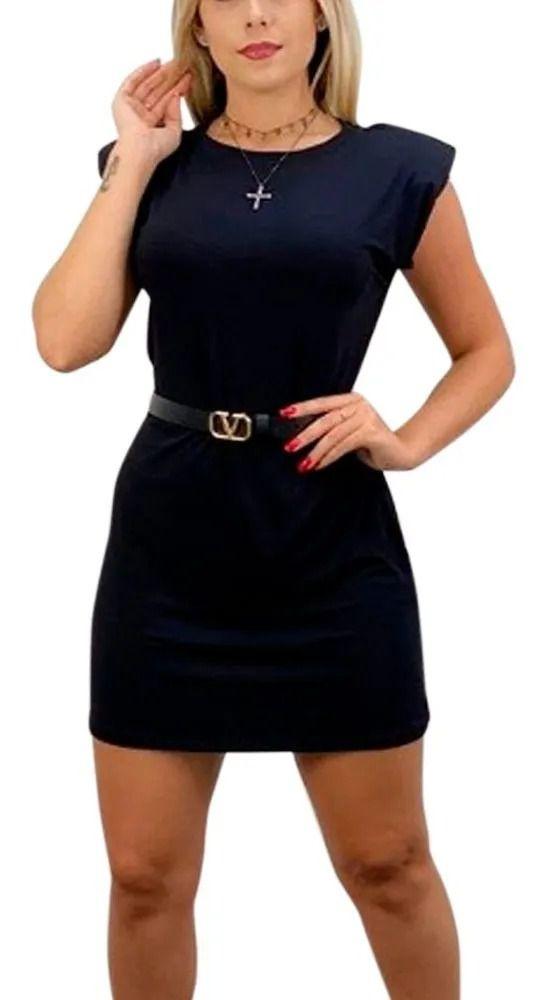 Vestido Blusão Muscle Ombreira Viscolycra Malha Manga Curta Preto