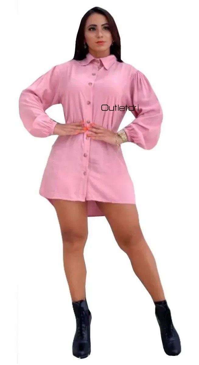 Vestido Camisão Chemise Social Mullet Manga Longa Botões