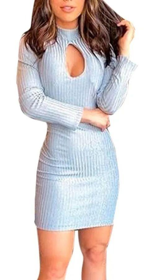 Vestido Canelado Brilho Manga Longa Gola Alta Decote Gota Cinza