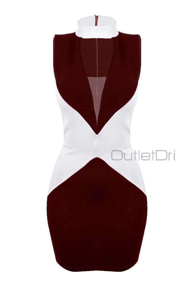 Vestido Casual Borboleta Gola Alta Decote Tule Zíper Costas
