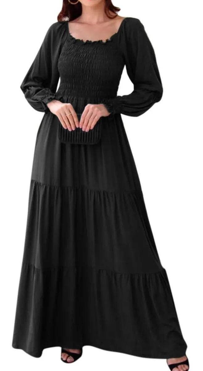 Vestido Cigana Lastex Ombro A Ombro Manga Longa Justa