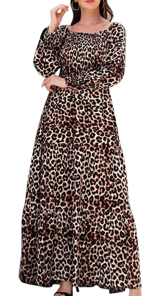 Vestido Cigana Lastex Ombro A Ombro Manga Longa Justa animal print