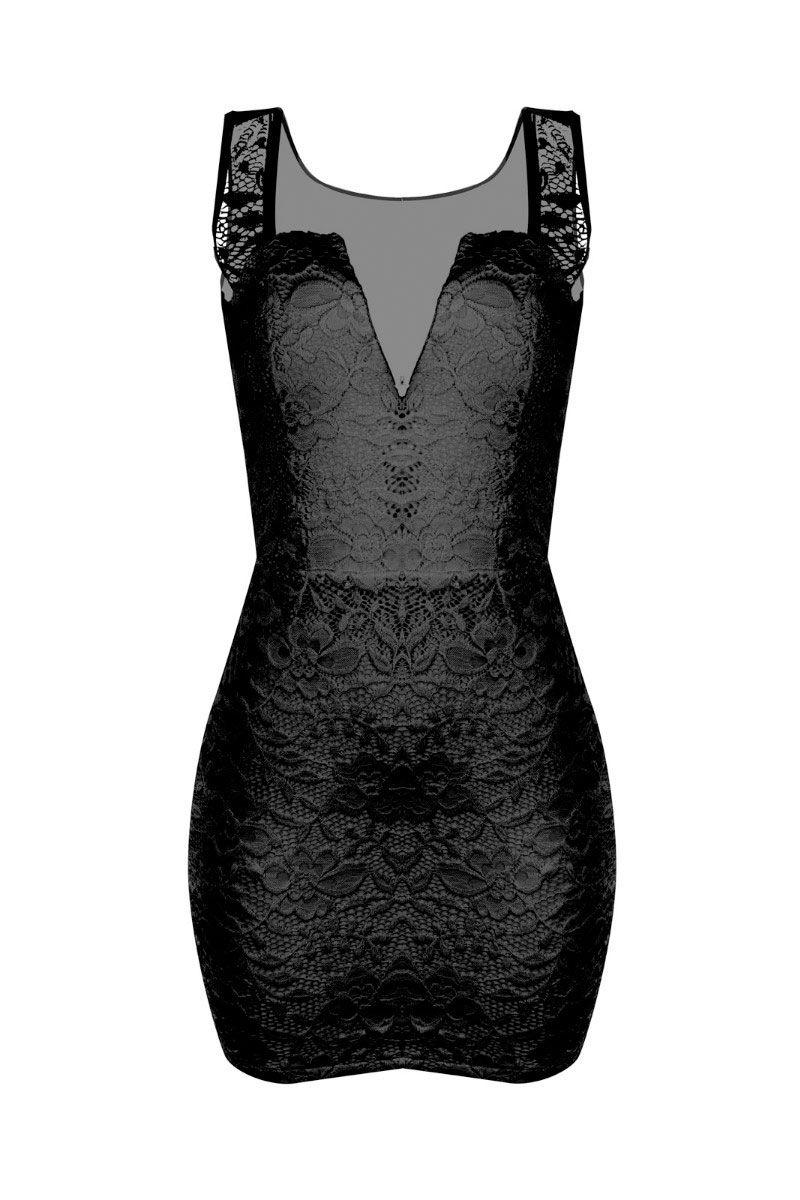 Vestido Curto Feminino Alça Grossa Tule Detalhe Decote Renda