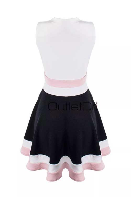 Vestido Curto Feminino Godê 3d Rosa Detalhe Decote Tule