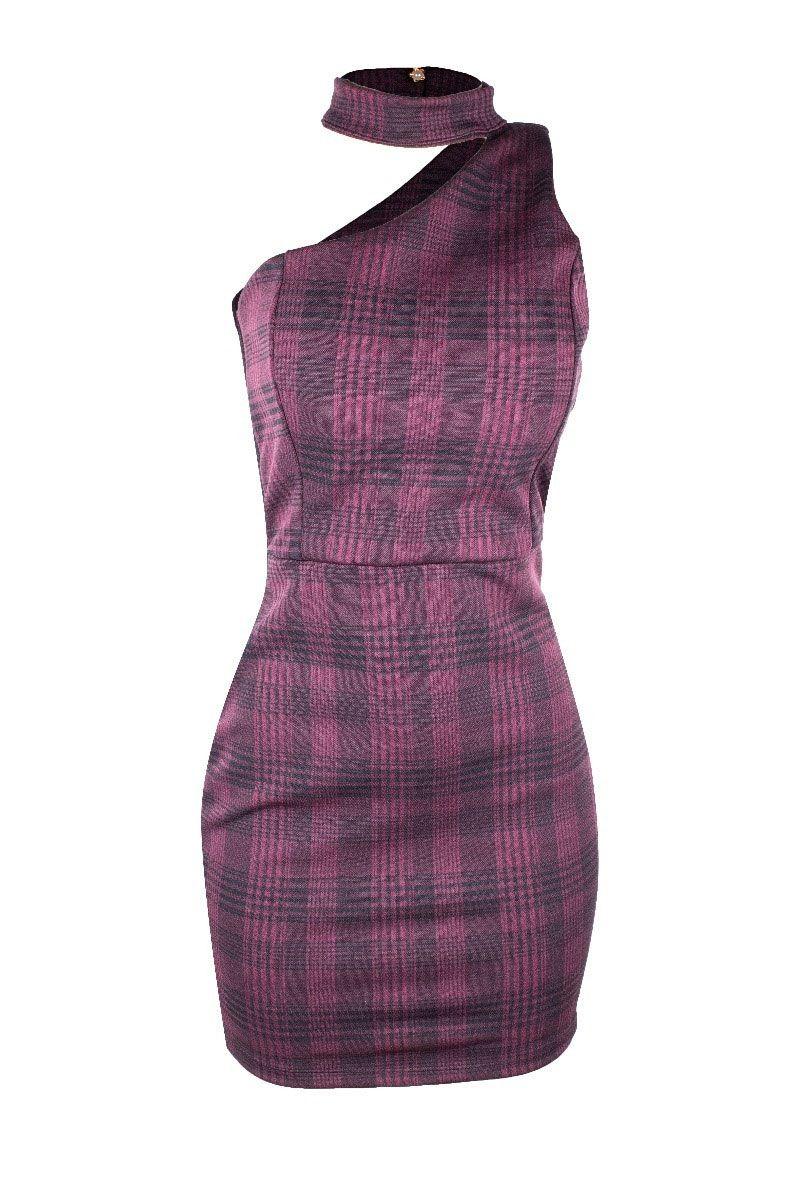Vestido Curto Mula Manca Estampado Botão Atrás Detalhe Lado Púrpura Com Preto