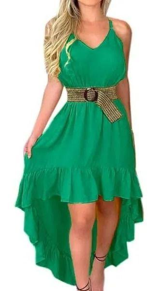 Vestido Curto Mullet Detalhe Barra Babado Alcinha verde