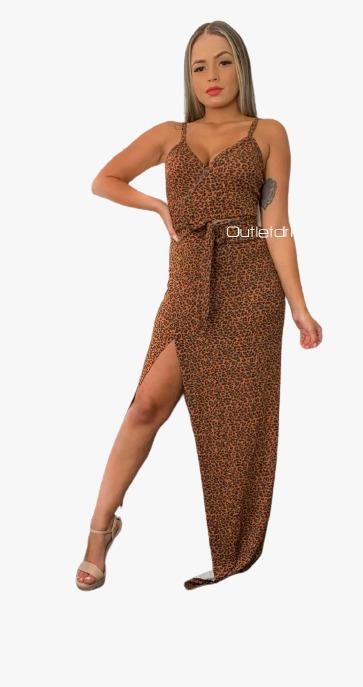 Vestido Envelope Tipo Hobby Fenda Na Perna Transpassado Animal Print