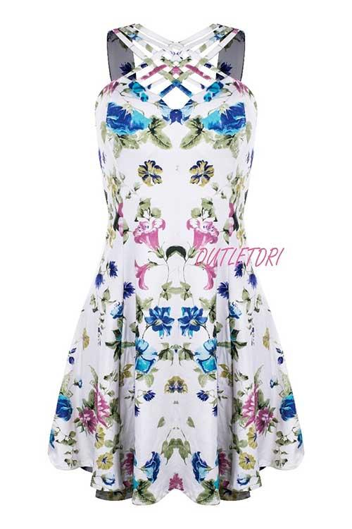 Vestido Estampado Curto Alça Grossa Floral Tirinhas Cruzadas Branco