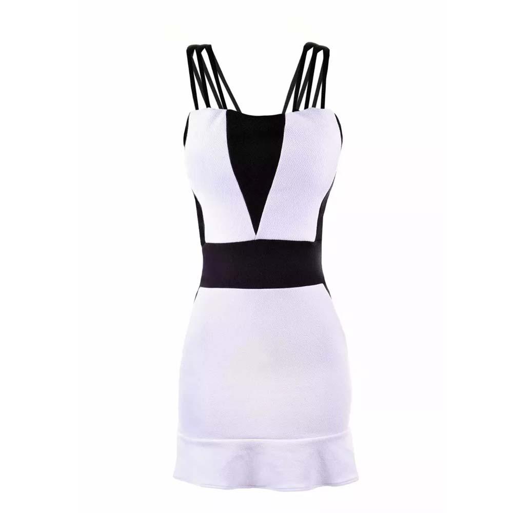 Vestido Feminino 3d Curto Sem Renda Não Longo Preto E Branco