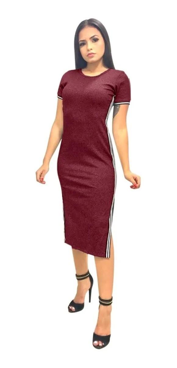 Vestido Feminino Midi Canelado Fenda Listra Lateral