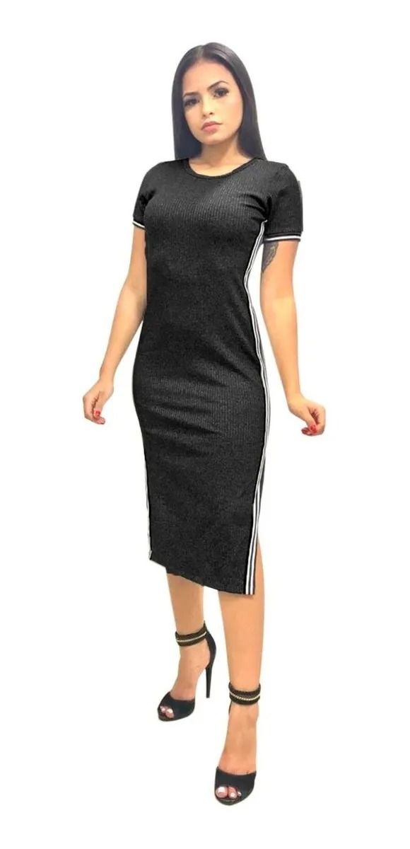 Vestido Feminino Midi Canelado Fenda Listra Lateral Preto