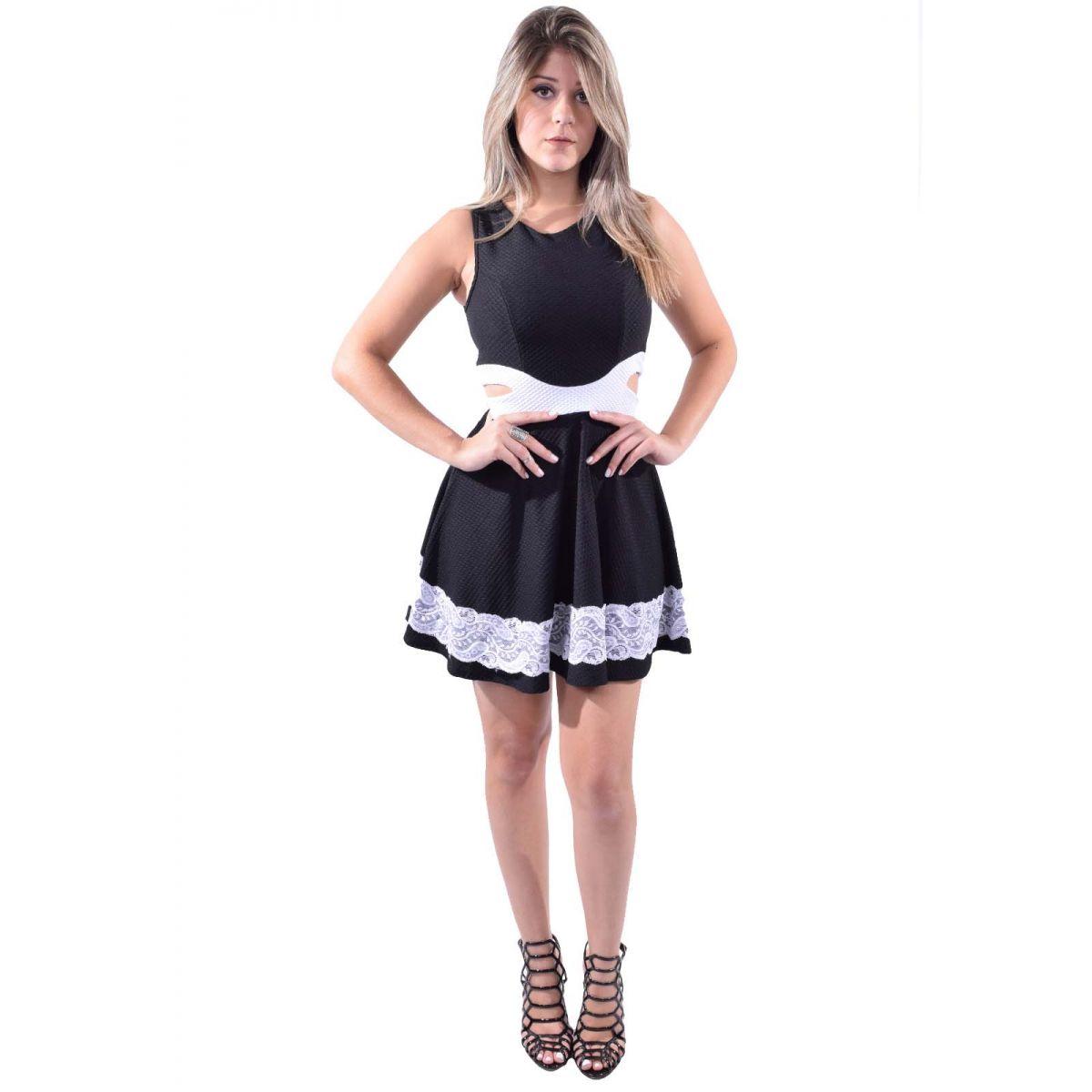 Vestido Godê Com Renda Princesa Cintura Femininos Rodado