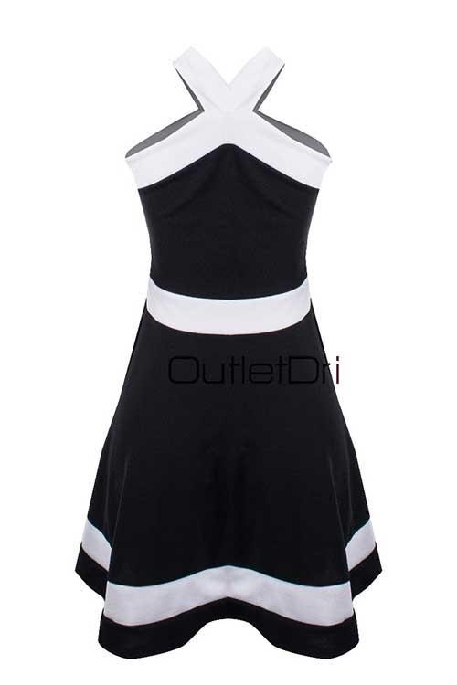 Vestido Juju 3d Detalhe Renda Alça Trançada Decote Gota 2018 Branco com preto