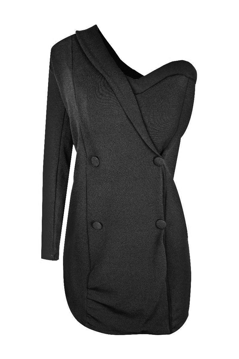 Vestido Justo Manga Longa Mula-manca Botões Frontais Londres