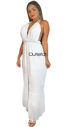 Vestido Longo Alcinha Dupla Decotado Fenda Frontal Tropical