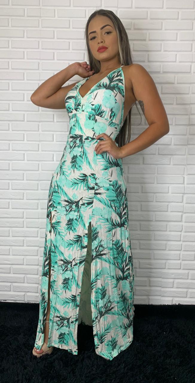 Vestido Longo Alcinha Fenda Frontal Viscolycra Tropical