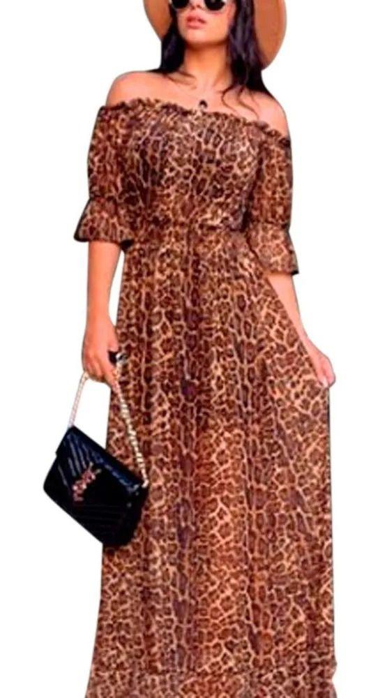 Vestido Longo Estampa Animal Print Roupas Femininas Top Marrom