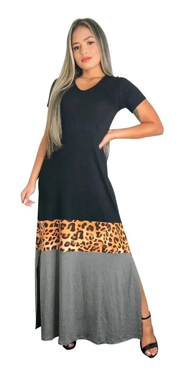 Vestido Longo Manga Curta Com Fenda Lateral Animal Print
