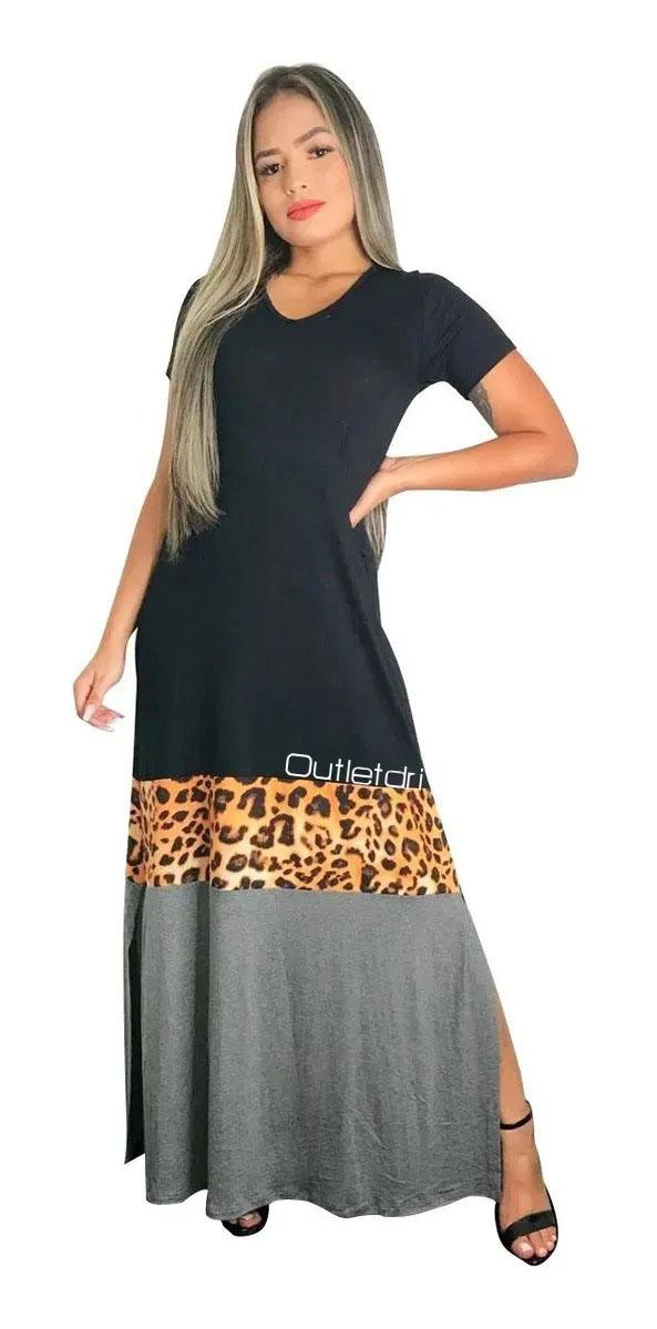 Vestido Plus size  Longo Manga Curta Com Fenda Lateral Animal Print