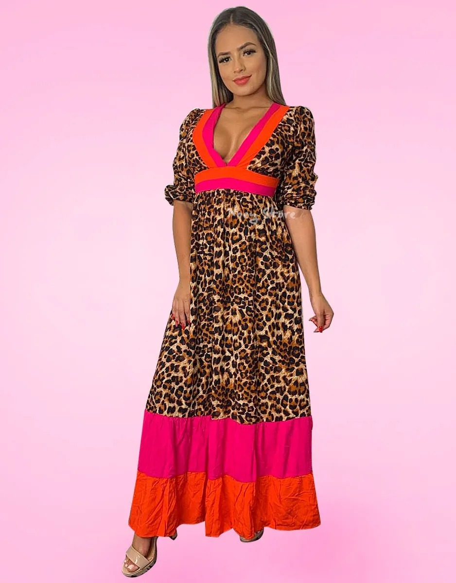 Vestido Longo Viscose Animal Print Decote V Decotado