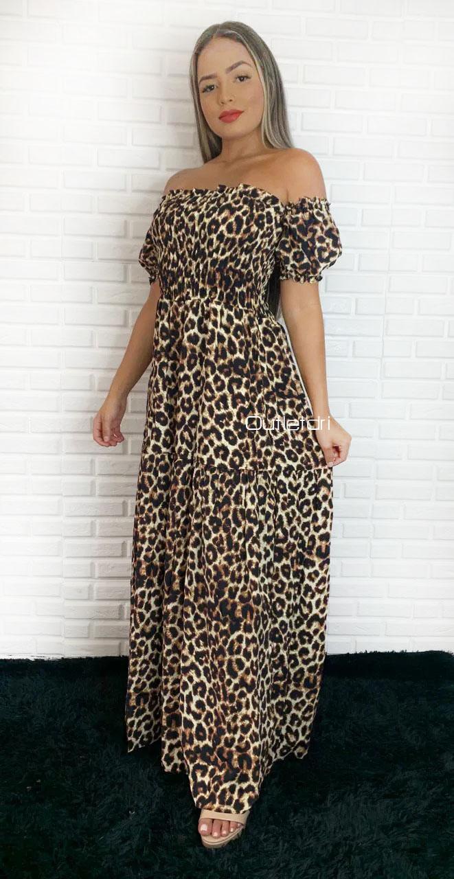 Vestido Longo Viscose Viscolinho Elastex Ciganinha Lançament Animal Print