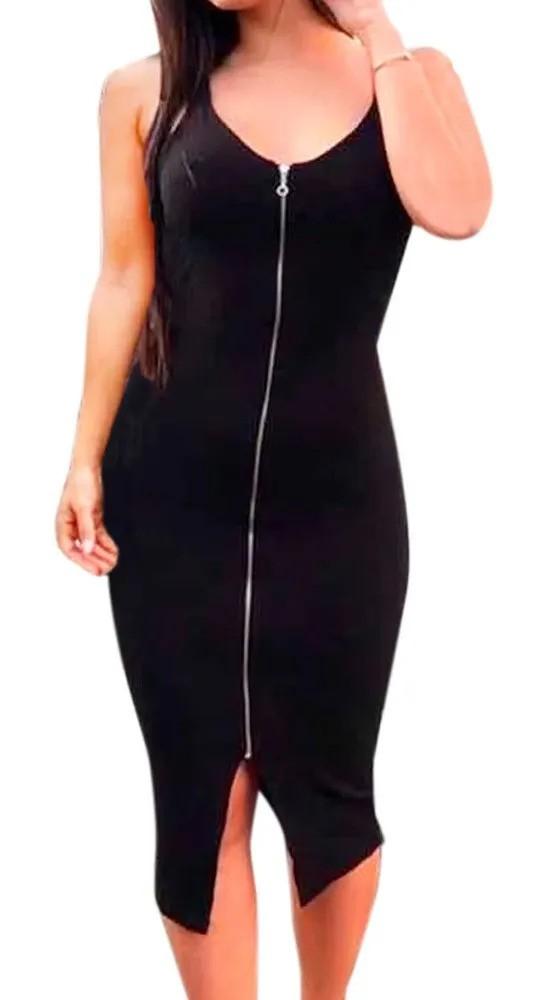 Vestido Midi Feminino Canelado Tubinho Ziper Longuete Justo