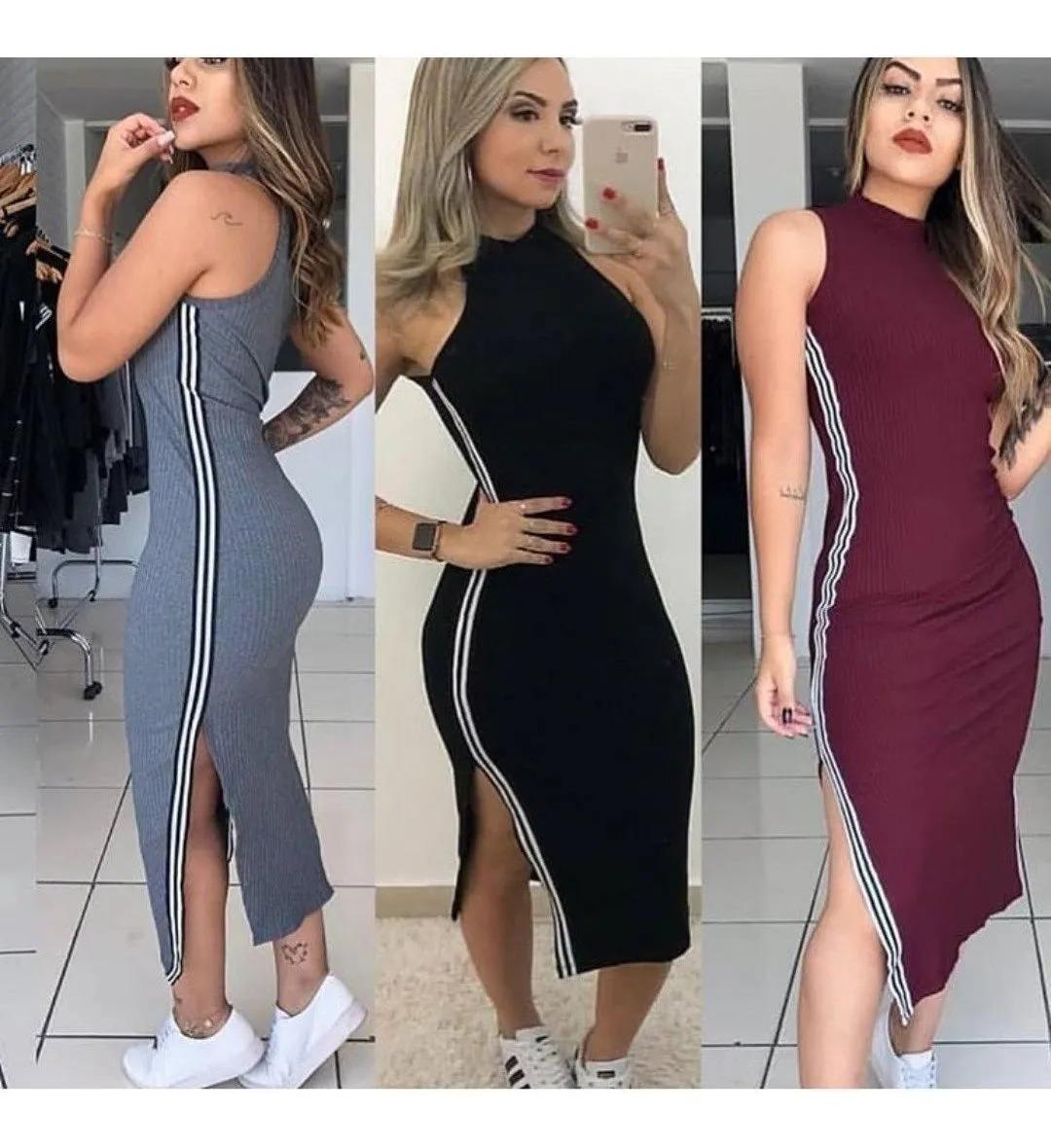 Vestido Plus size Midi Justo Acinturado Canelado Roupas Femininas