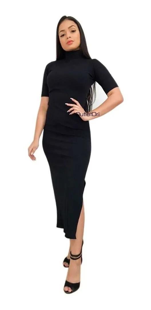 Vestido Midi Justo Secretária Acinturado Roupas Femininas