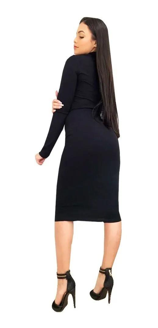 Vestido Midi Manga Longa Acinturado Moda Evangélica