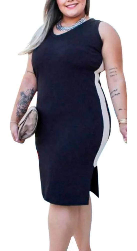 Vestido Midi Plus Size Canelado Roupas Femininas