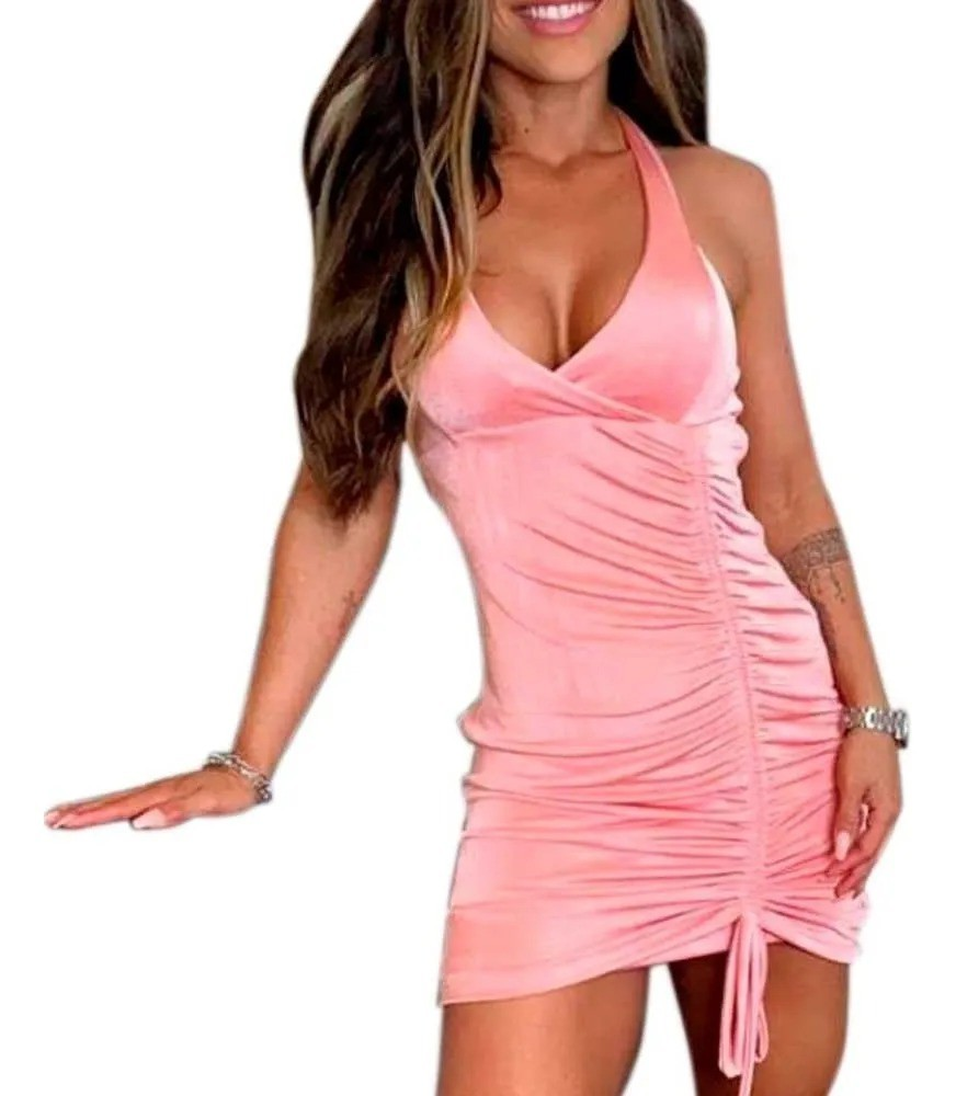 Vestido New Slink Alcinha 2 Em 1 Verão Decotado Drappeado