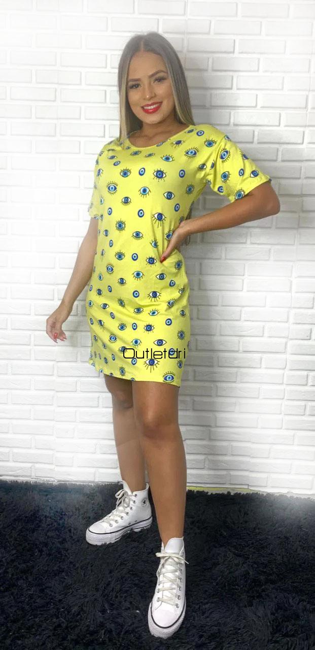 Vestido Olho Grego Blusao Feminino Estampado Camisao Moda