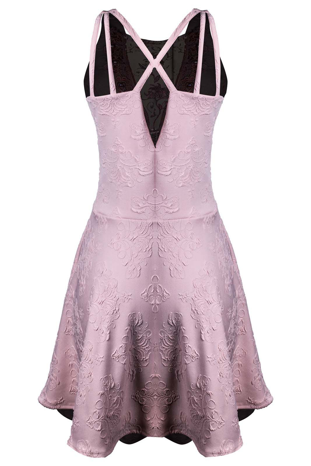 Vestido Outlet Dri Alça Grossa Gode Jacquard Perola Decote Detalhe Tule Rosa