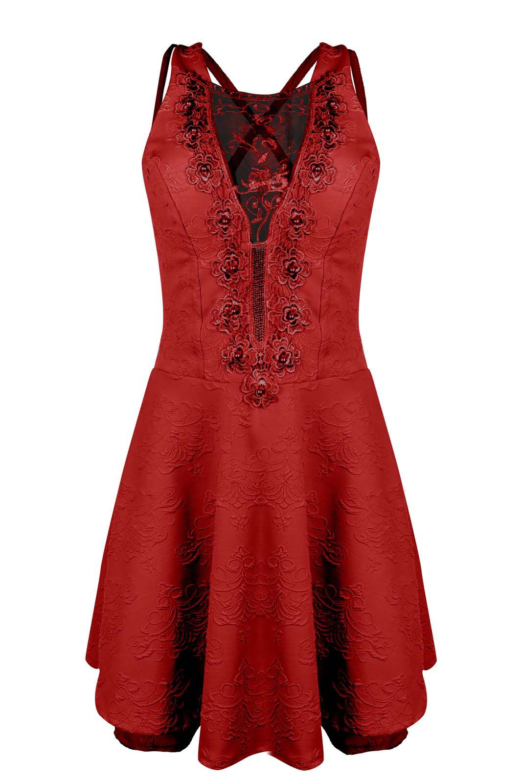 Vestido Outlet Dri Alça Grossa Gode Jacquard Perola Decote Detalhe Tule Vermelho