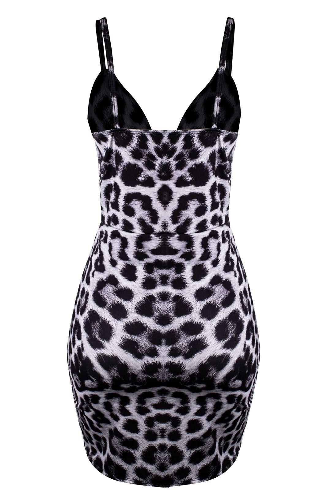 Vestido Outlet Dri Alcinha Animal Print Nó Frontal Estampa Leopardo Cinza