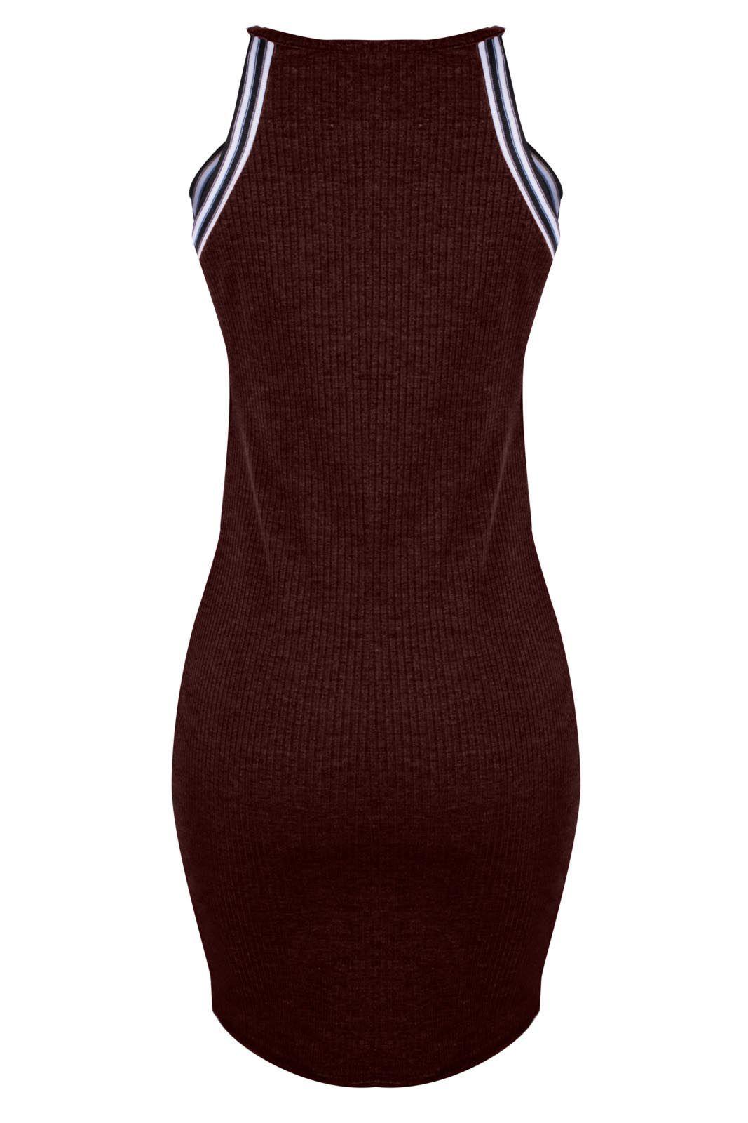 Vestido Outlet Dri Alcinha Canelado Curto Detalhe Alça Esp Casual Lista Vermelho Escuro