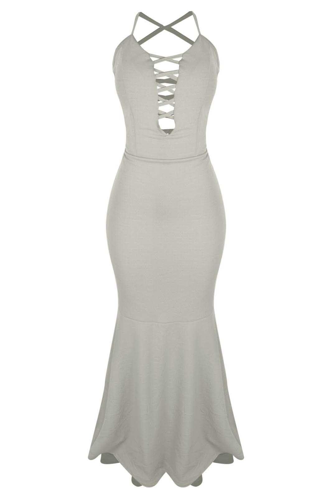 Vestido Outlet Dri Alcinha Casual Tubinho Sereia Decote Tiras Frente Branco