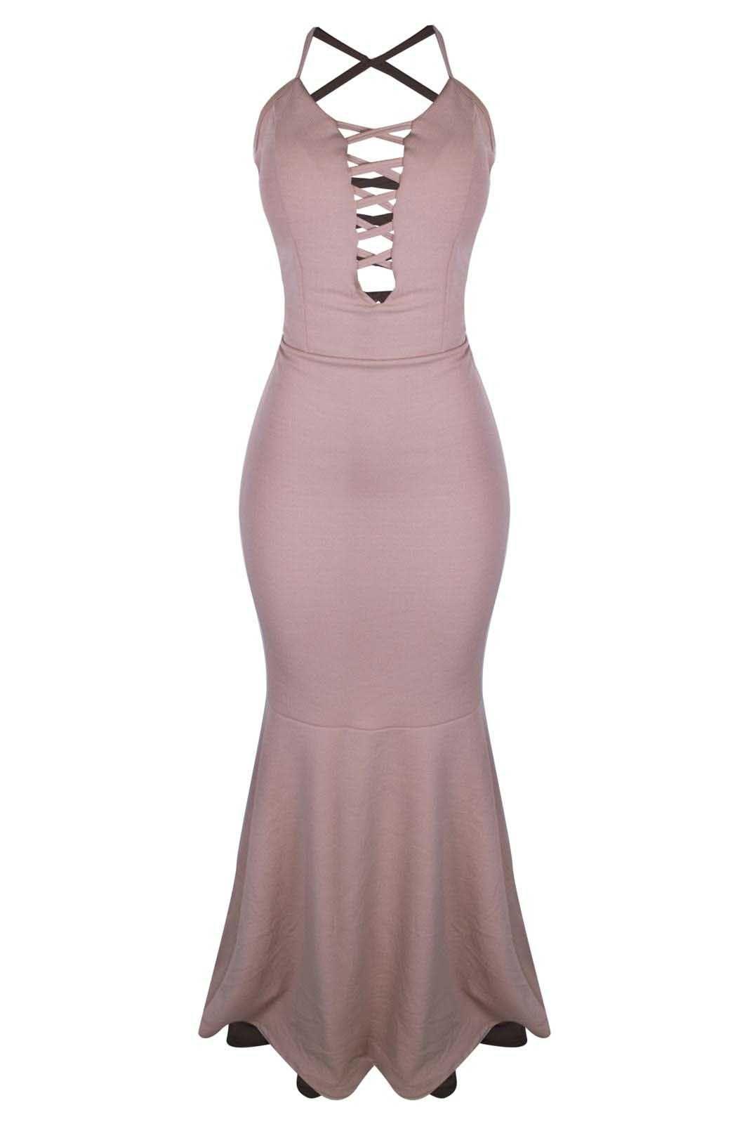 Vestido Outlet Dri Alcinha Casual Tubinho Sereia Decote Tiras Frente Rosa