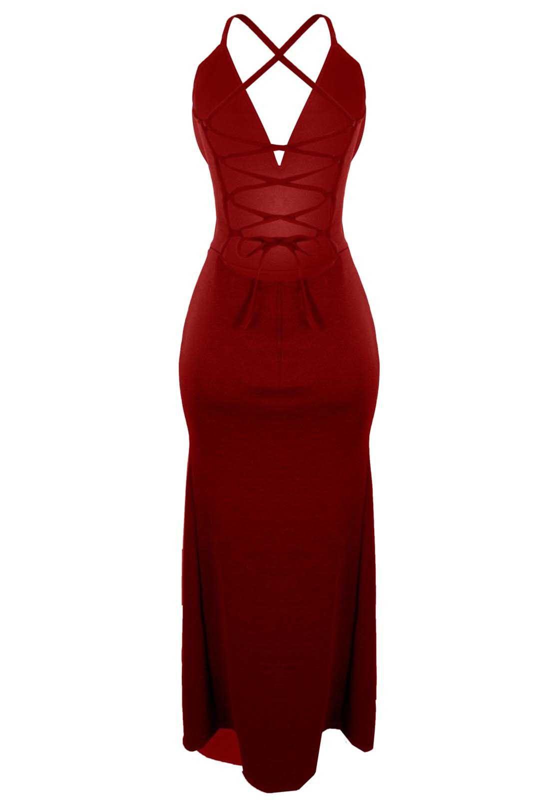 Vestido Outlet Dri Alcinha Longo Sereia Fenda Lateral Decote V Recorte Costas Vermelho