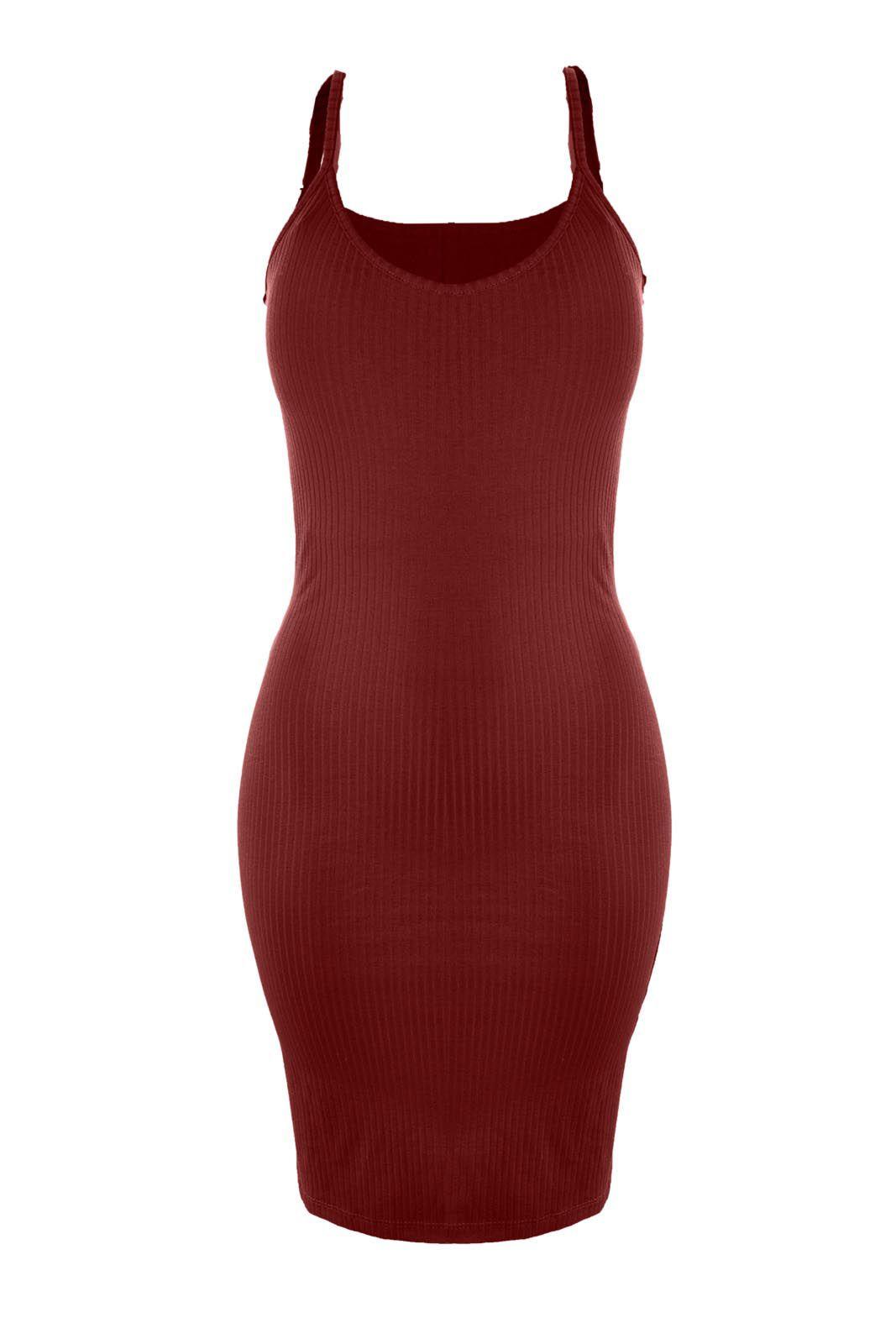 Vestido Outlet Dri Alcinha Malha Canelada Midi Casual Básico Vermelho