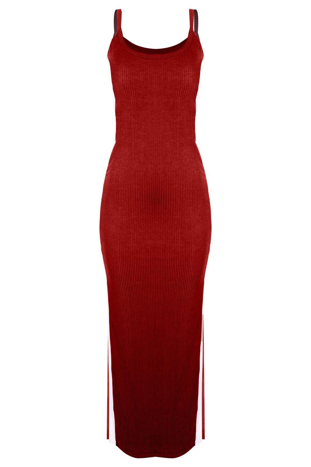 Vestido Outlet Dri Canelado Longo Dupla Fenda Lateral Faixa Branca Vermelho