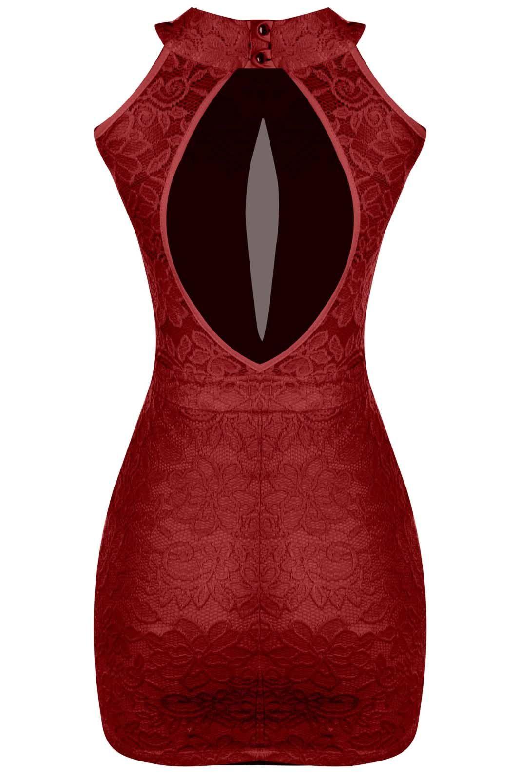 Vestido Outlet Dri Casual Curto Renda Forrada Tubinho Gola Alta Detalhe Decote Tule Vermelho