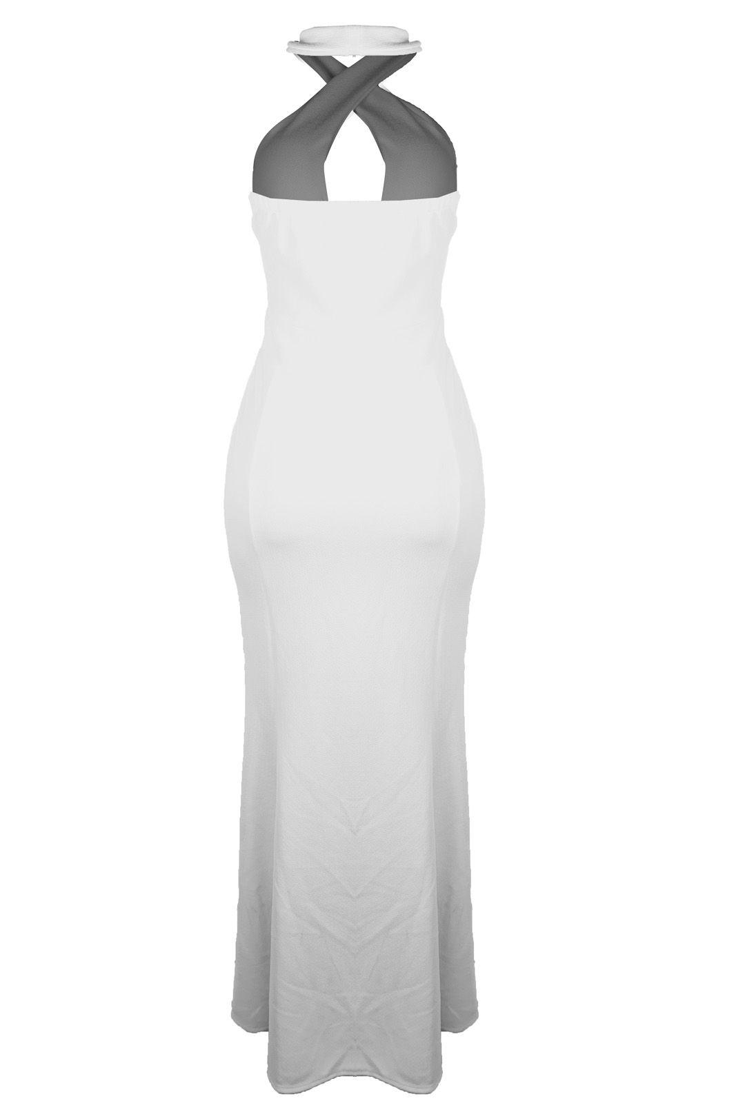 Vestido Outlet Dri Crepe Frente Única Longo Tubinho Decote Gota Fenda Branco