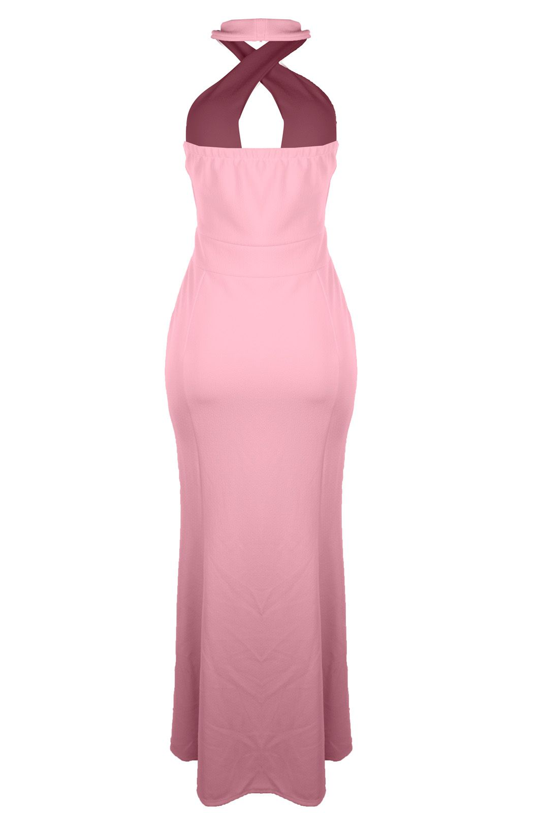 Vestido Outlet Dri Crepe Frente Única Longo Tubinho Decote Gota Fenda Rosa Bebê