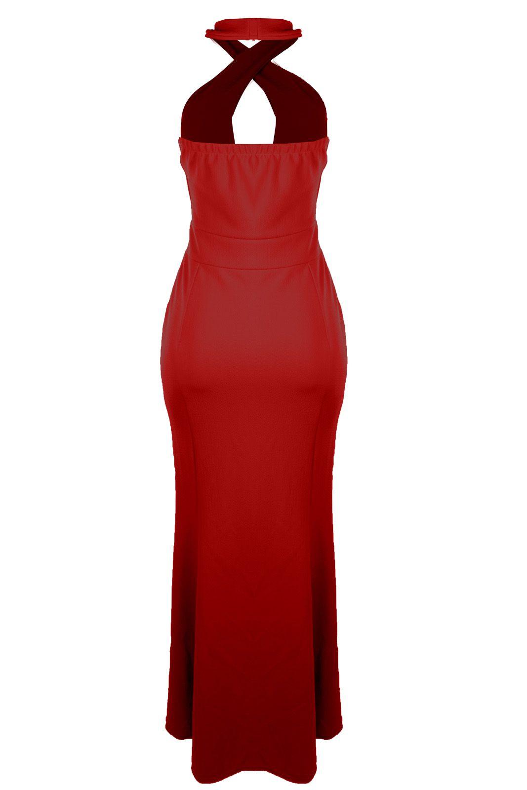 Vestido Outlet Dri Crepe Frente Única Longo Tubinho Decote Gota Fenda Vermelho