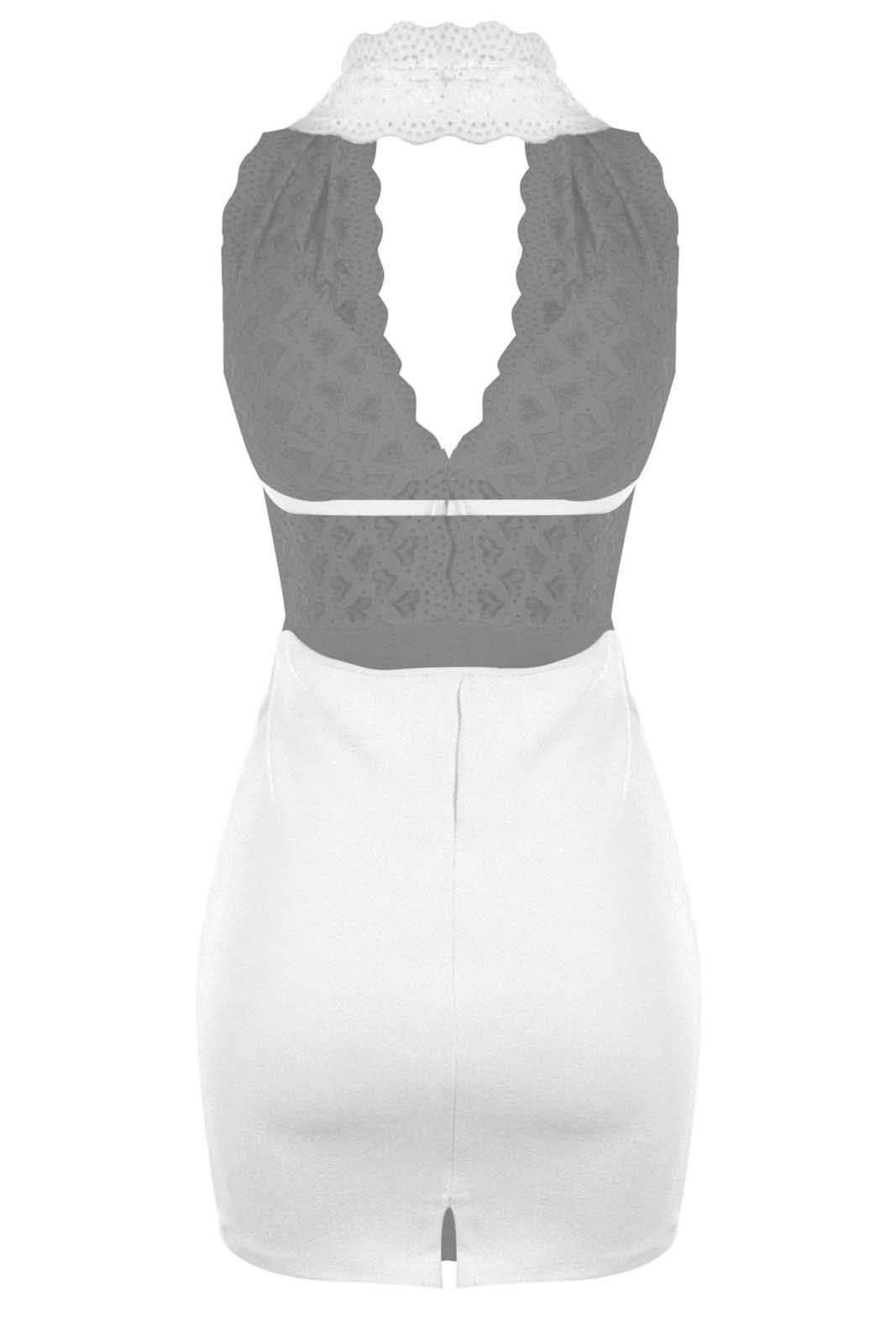 Vestido Outlet Dri Curto Frente Única Decote Decotado Costa Nua Renda Branco