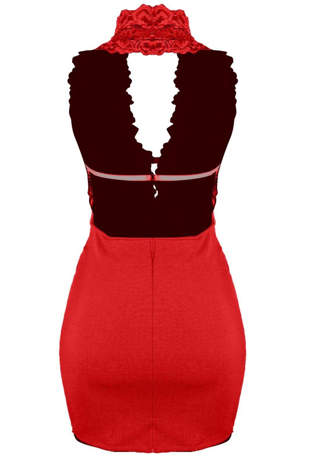 Vestido Outlet Dri Curto Frente Única Decote Decotado Costa Nua Renda Vermelho