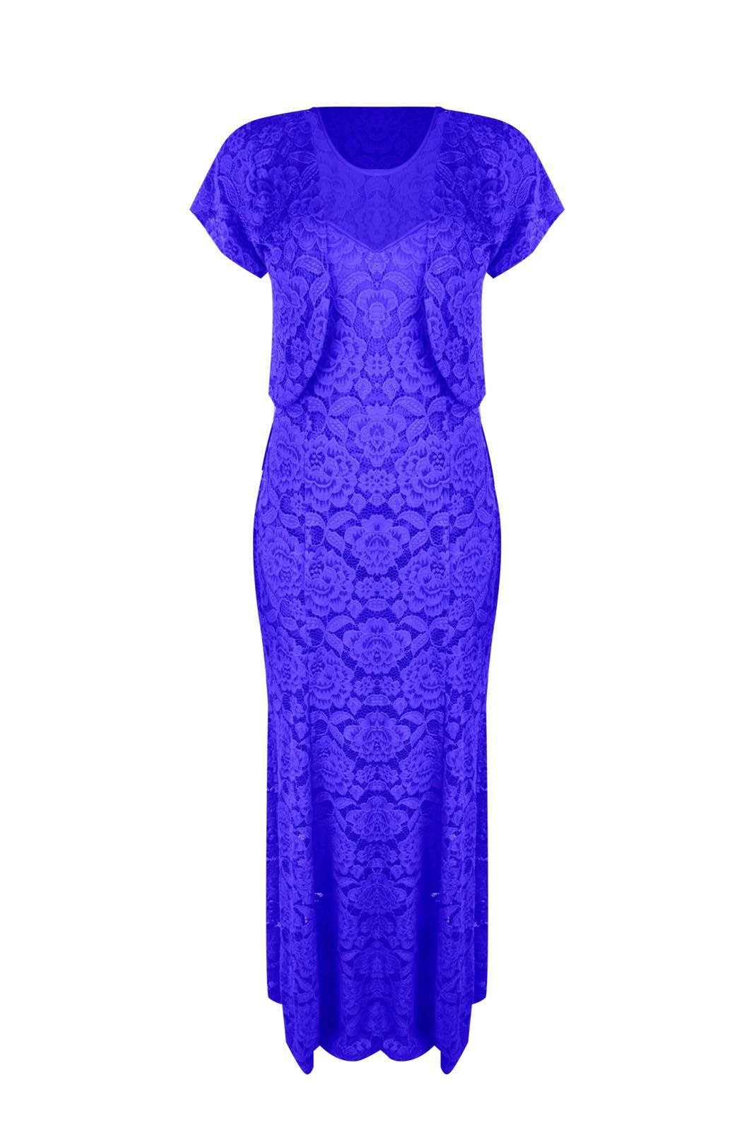 Vestido Outlet Dri Festa Casamento Formatura Sereia Conjunto Com Bolero Azul