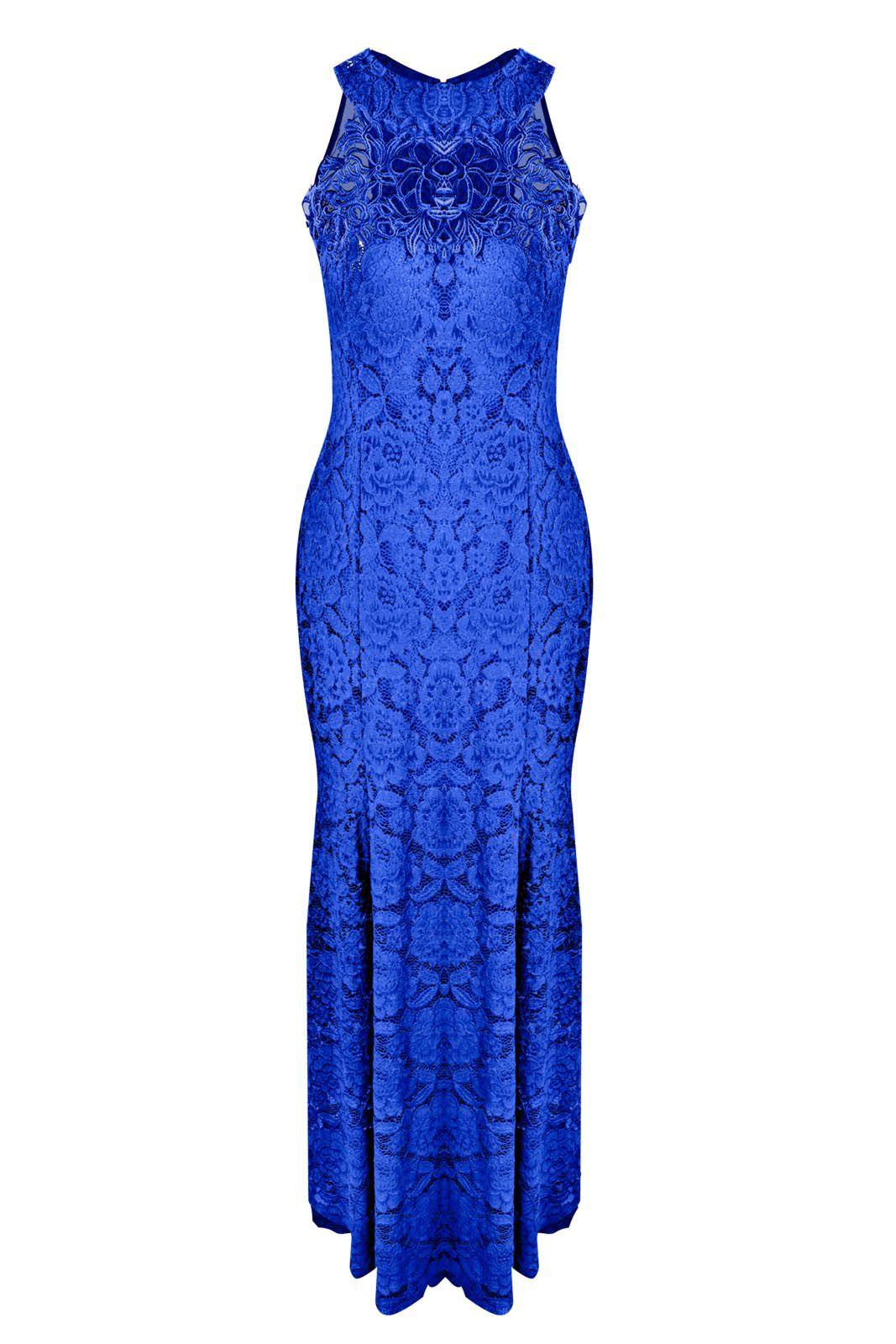 Vestido Outlet Dri Festa Formatura Longo Rendado Detalhe Renda Guippir Azul