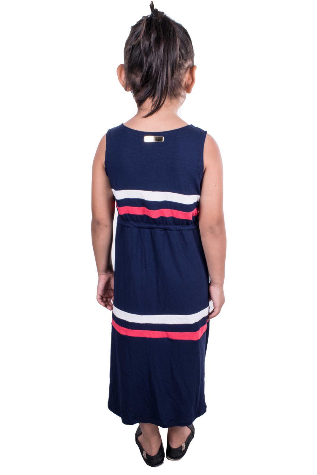 Vestido Outlet Dri Infantil Detalhe 3 Cores Listras Tiras Amarrar Azul